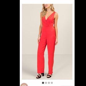 Francesca's red jumpsuit